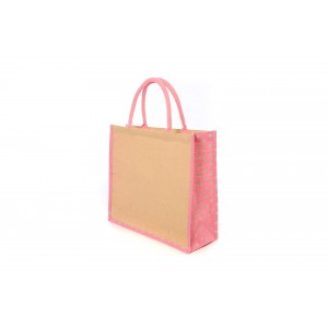 Large Pink Polka Dot Jute
