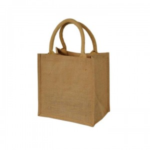 Medium Jute Bag - Natural & Pink