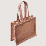 Small Jute Bag - Natural, Pink & White